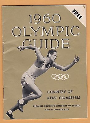 1960 Olympic Guide W  Tv Listings  Courtesy Kent Cigarettes  Lots Info 32 Pp
