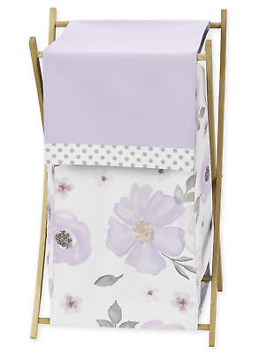 Watercolor Floral Girl Baby Kid Clothes Laundry Hamper Lavender Purple Pink Grey ()