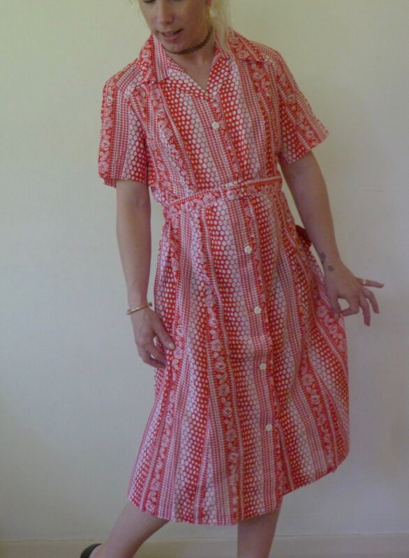 bfb74a6a5db80 Details about Vintage retro 70s 14 L unused cotton button through shirt  dress NOS red