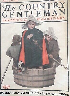 """Country Gentleman Cover (February 1923 Country Gentleman Cover 10"""" x 13"""" Plastic Wrap On Cardboard! Pics.)"""