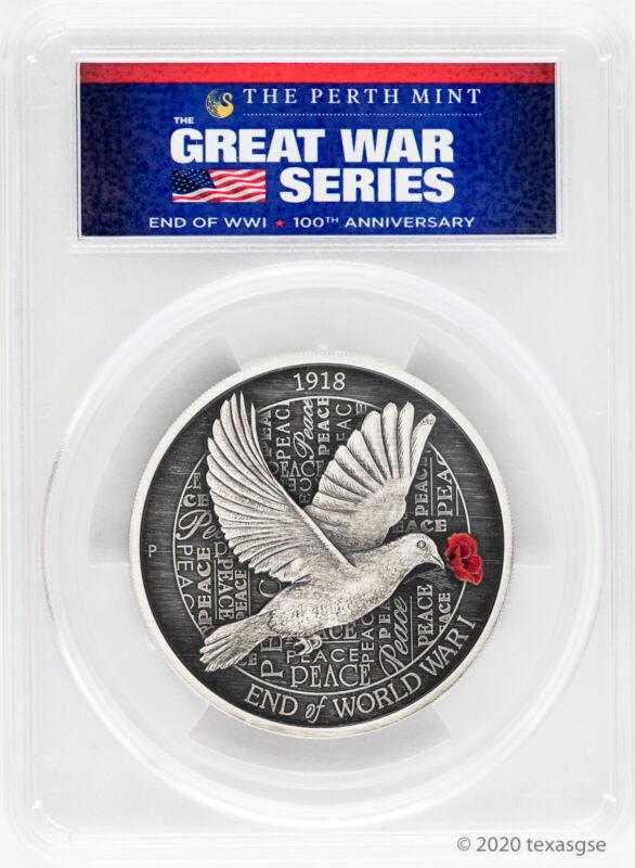 2018-P Australia End of WWI 100th Anniversary 5oz Antique Silver Coin PCGS MS70