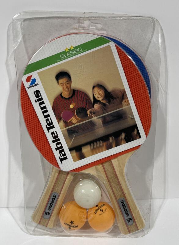 Vintage Sportcraft Ping Pong Table Tennis Set, Paddles Balls