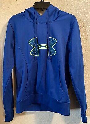Women's Under Armour Cold Gear 100% Polyester Blue Hoodie Sweatshirt Medium