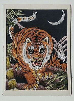 Vintage Large Hand Embroidered Stitched Wild Tiger Japanese Silk Art Picture