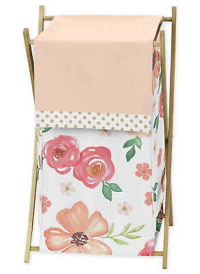 Sweet Jojo Watercolor Floral Peach Pink Green Baby Kid Clothes Laundry Hamper