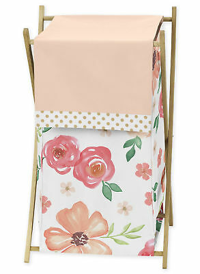 Sweet Jojo Watercolor Floral Peach Pink Green Baby Kid Clothes Laundry Hamper ()