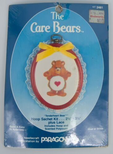 NEW! Vintage 1986 Paragon Care Bears 2x3 Hoop Ornament w Lace Sachet Kit #2481