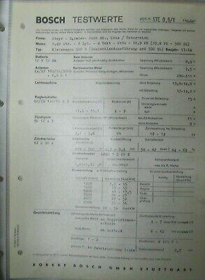 * Steyr Daimler Puch 500 D DL 1957-64  Einstelldaten Datenblatt Service
