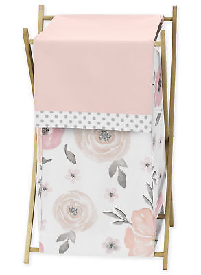 Sweet Jojo Kids Baby Clothes Laundry Hamper For Pink Floral Watercolor Bedding