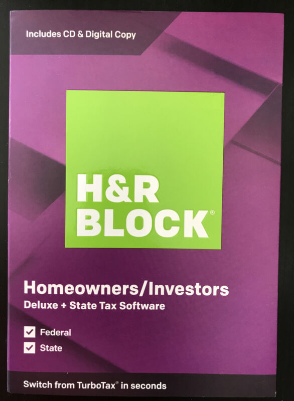 H&R Block Homeowners/Investors Tax Software Deluxe And State 2019 (NEW, Sealed)
