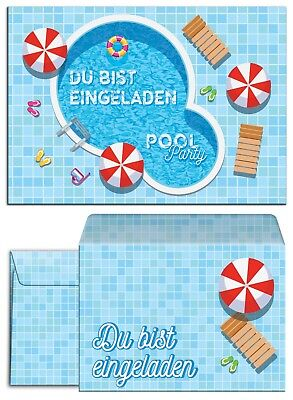 Einladungskarten Umschlägen Kindergeburtstag Schwimmbad Mädchen Junge Poolparty  ()