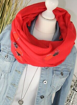 Fashion-schal (LOOP XL Rundschal ANANAS Motiv Unifarbe Fashion Schal Tuch ROT SCARF NEU H/M-79)