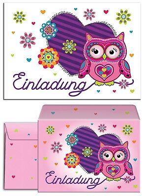 Eule Karten (Einladungskarten Umschläge zum Kindergeburtstag Eule Mädchen Jungen Einladung)