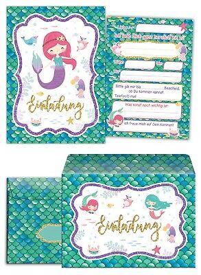 dergeburtstag mit Umschlag Mädchen Meerjungfrau Einladungen (Meerjungfrau-einladungen)