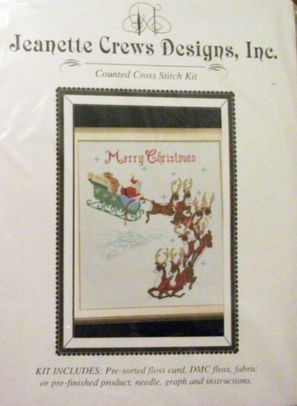"""OVER THE ROOFTOP- SANTA!""- Counted X-Stitch Kit by Jeanette Crews Designs"