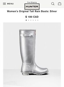 Women's Original Tall Rain Boots: Silver