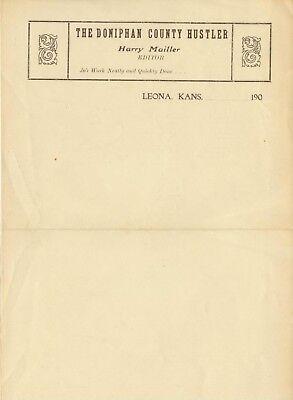 c1900 Leona Kansas Doniphan County Hustler newspaper letterhead H Mailler Editor