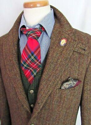 Vtg 60s/70s HARRIS TWEED Wool Blazer 42 44 L ~ Sport Coat jacket IVY LEAGUE mod
