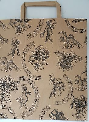 20 Kraft Cherub Vintage printed large paper carrier bags for gift, shop 10x12x5