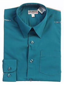New Gioberti Toddlers Kids Boys Solid Long Sleeve Dress Shirts, Sizes 2T, 3T, 4T