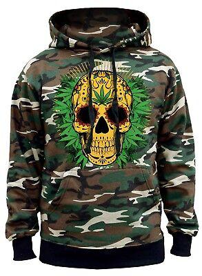 Men's 420 Sugar Skull Camo Hoodie Weed Blunt Kush Marijuana Halloween Cannabis  - Man Sugar Skull Halloween