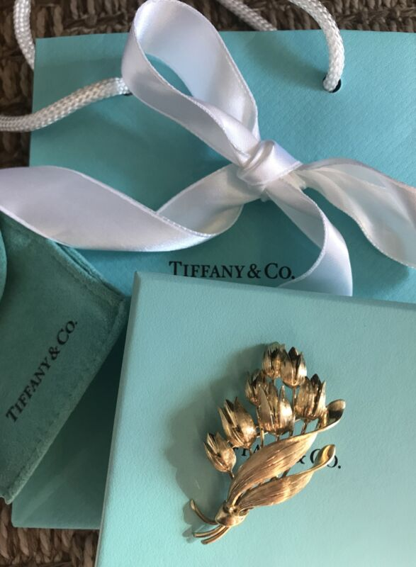 Vintage Tiffany Co. 18k Gold Tulip Flower Brooch Pin 9 Grams BOXED GIFT