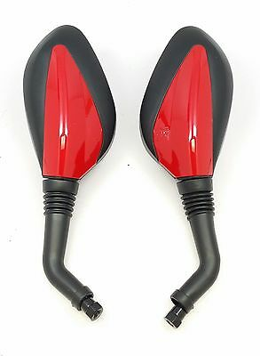 Rear View Mirrors 8mm GY6 Scooter Moped Vespa Peace 50cc 150cc 250cc RED Mirror