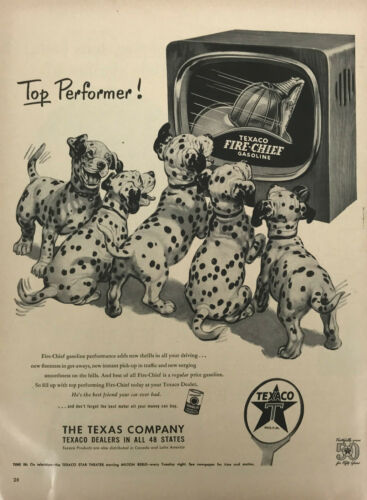 Texaco Gas Dalmatian Puppy Magazine Print Ad Vintage Fire Chief Fuel Dog 1952