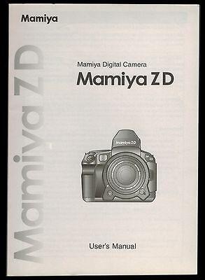 Инструкции и руководства MAMIYA ZD BODY