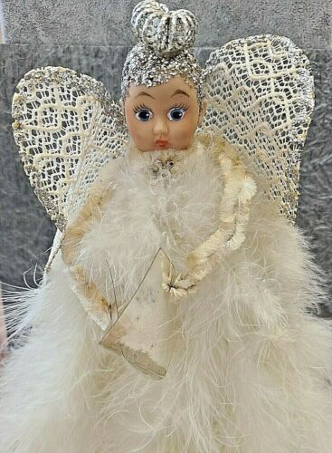 Vintage Angel Composition Head  Feathers Christmas Tree Ornament Caroler