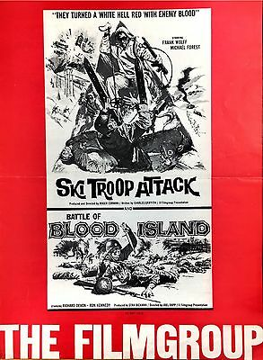 'SKI TROOP ATTACK' 'BATTLE OF BLOOD ISLAND' - ROGER CORMAN - FILMGROUP PRESSBOOK