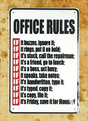 US Seller- cheap house accessories online Office Rules tin metal sign