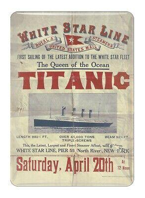Titanic Volver Navegación Vintage Coleccionistas Mini Metal Signo Nevera Imán (