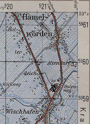 2320 Hamelwörden, topographische Karte, 1:50.000, gedruckt 1960, ungefaltet !!