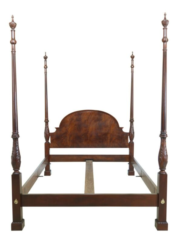 43448EC: BAKER Queen Size Mahogany Carved Poster Bed