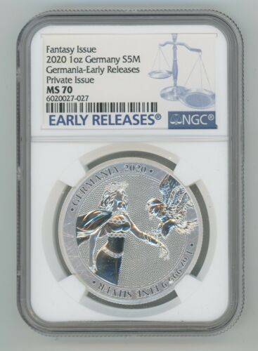 GERMANIA 2020 – 5 MARK 1 OZ PURE SILVER Round NGC EARLY RELEASES ER MS70