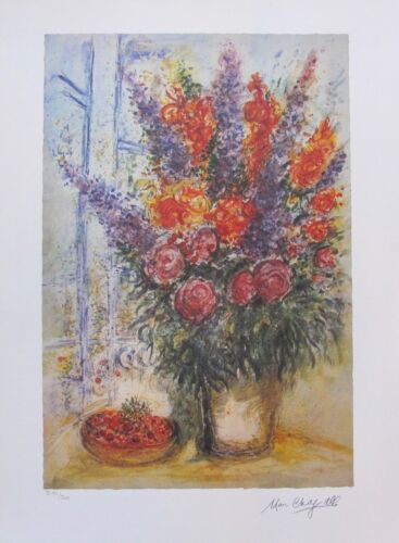 """MARC CHAGALL """"BOUQUET WITH CHERRIES"""" Facsimile Signed Ltd Edition Lithograph Art"""