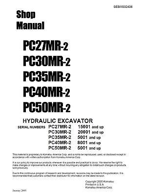 Komatsu Pc50mr-2 Hydraulic Excavator Service Shop Manual In Binder