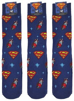 3 Pair Lot of Bioworld SUPERMAN DC Mens Crew Socks 10-13 (shoe size 8-12) NWT