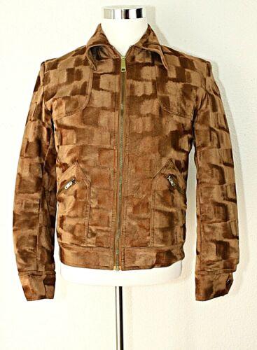 VTG TEAM GULF SWEDEN Racing Jacket Zipper Camel Color Bomber Style Faux Fur ~ L