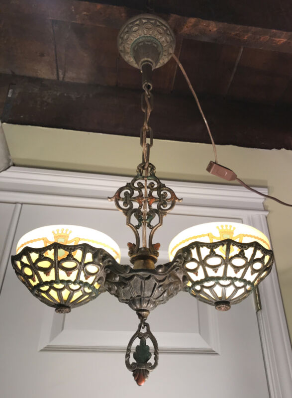 Victorian 2 Light Chandelier Painted Glass Shades
