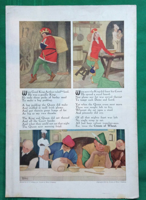 1910 Cream of Wheat Magazine Ad Kelloggs  King Arthur Sonnet