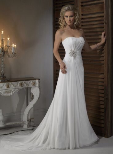 White Chiffon Wedding Dress Size 18 UK Seller