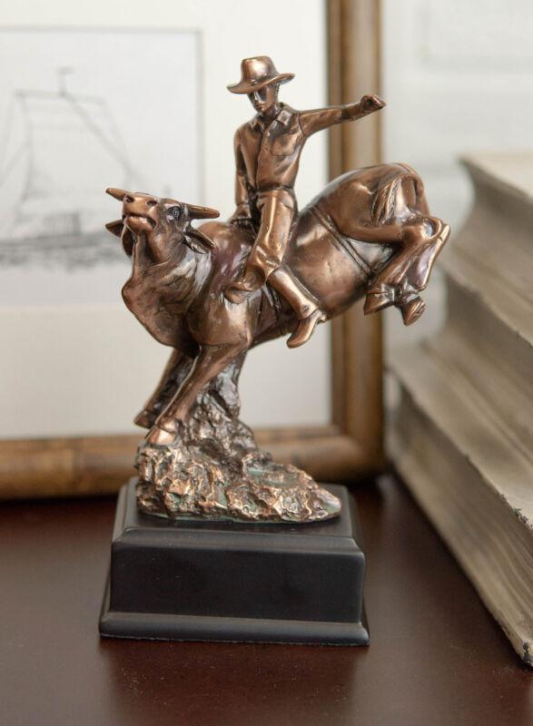 Ebros Rustic Western Rodeo Cowboy W/ Bucking Bull Bronze Electroplated Figurine