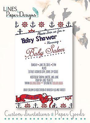 Baby Shower Boy Invitation Nautical Theme](Nautical Theme Baby Shower Invitations)
