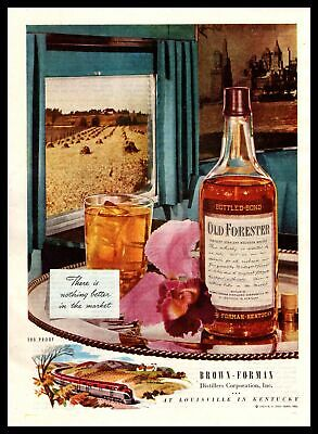 1947 Old Forester Bourbon Whiskey Brown Forman Distillers Train Vintage Print Ad