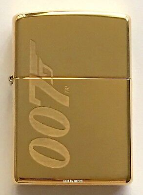 Zippo Windproof James Bond 007 Lighter With Logo, Solid Brass, 62043, New In Box