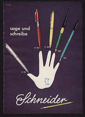 3w1076/ Alte Reklame - von 1960 - sage und schreibe - SCHNEIDER Stifte