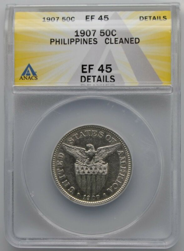 1907 US Philippines Silver 50 Centavos ANACS XF 45 Details Cleaned