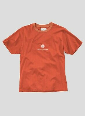 Nigel Cabourn Globe Logo T-Shirt Tee in Vintage Orange - Various Sizes